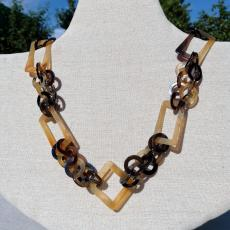 Horn necklace with contrasting shapes