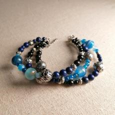 Deep Strata - triple beaded bracelet