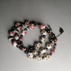 Rote Porzellanblumen - Spiralarmband