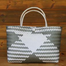 Handtasche mit Diamantmuster Grau/Weiß