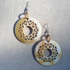 Horn earrings, round, light