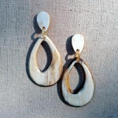 Horn earrings, teardrop, light