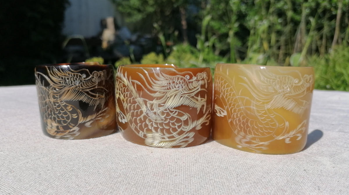 Dragon cuff bracelets - carved in a traditionally Asian technique