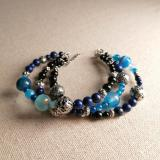 Deep Strata - triple beaded bracelet