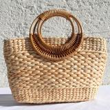 Straw Bag with Bamboo Handle