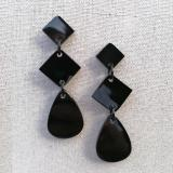 Elegant black earrings made from natural buffalo horn